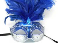 Blue and Silver Feather Mask